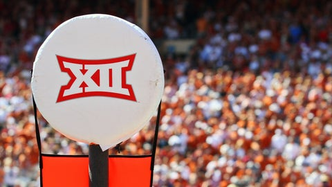 10 October 2015: The Big12 logo on the chains during an NCAA football game between the Texas Longhorns and the Oklahoma Sooners at the Cotton Bowl in Dallas, TX. Texas won 24-17. (Photo by Raymond Carlin/Icon Sportswire). (Photo by Ray Carlin/Icon Sportswire/Corbis via Getty Images)