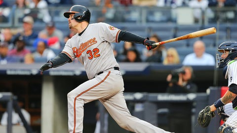 NEW YORK, NY - OCTOBER 02:  Matt Wieters #32 of the Baltimore Orioles in action against the New York Yankees at Yankee Stadium on October 2, 2016 in the Bronx borough of New York City. Baltimore Orioles defetaed the New York Yankees 5-2.  (Photo by Mike Stobe/Getty Images)