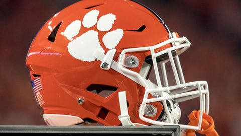 GLENDALE, AZ - DECEMBER 31: A general view of a Clemson Tigers helmet rests on a cabinet during the Playstation Fiesta Bowl against the Ohio State Buckeyes at University of Phoenix Stadium on December 31, 2016 in Glendale, Arizona. The Tigers defeated the Buckeyes 31-0. (Photo by Robin Alam/Icon Sportswire via Getty Images)