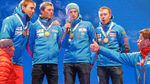 Russian biathletes forced to sing own national anthem