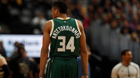 Milwaukee Bucks forward Giannis Antetokounmpo (34) in the second half of an NBA basketball game Friday, Feb. 3, 2017, in Denver. The Nuggets won 121-117. (AP Photo/David Zalubowski)