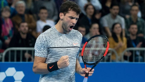 Bulgaria's Grigor Dimitrov reacts during the final tenis match of the ATP Garanti Koza Sofia Open tenis tournament in Sofia, on February 12, 2017. / AFP / NIKOLAY DOYCHINOV        (Photo credit should read NIKOLAY DOYCHINOV/AFP/Getty Images)