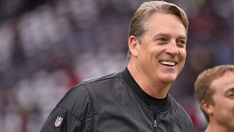 Oakland Raiders head coach Jack Del Rio walks the sidelines before the first half of an AFC Wild Card NFL game between the Houston Texans and the Oakland Raiders, Saturday, Jan. 7, 2017, in Houston. (AP Photo/Eric Christian Smith)