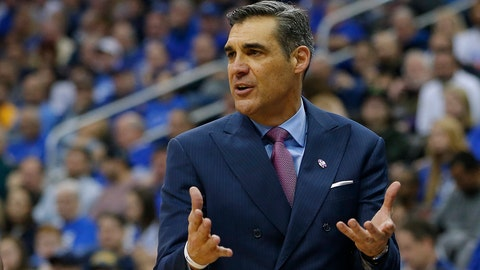 NEWARK, NJ - FEBRUARY 18: Head coach Jay Wright of the Villanova Wildcats yells to his team during the second half against the Seton Hall Pirates during an NCAA college basketball game at Prudential Center on February 18, 2017 in Newark, New Jersey. Villanova defeated Seton Hall 92-71. (Photo by Rich Schultz/Getty Images)