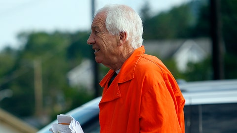 BELLEFONTE, PA - AUGUST 12:  Jerry Sandusky enters the Centre County Courthouse to appeal his child sex abuse conviction on August 12, 2016 in Bellefonte, Pennsylvania. Sandusky was facing a prison sentence for his conviction in June, 2012 on 45 counts of child sexual abuse, including while he was the defensive coordinator for the Penn State college football team. (Photo by Justin K. Aller/Getty Images)
