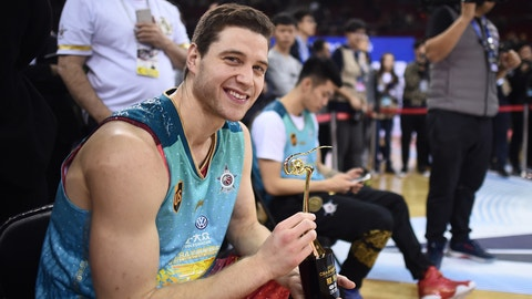 BEIJING, CHINA - JANUARY 08:  Jimmer Fredette of Shanghai Sharks celebrates after winning the final match of Three-Point Shootout during 2017 CBA All-Star Weekend at LeSports Center on January 8, 2017 in Beijing, China.  (Photo by VCG/VCG via Getty Images)