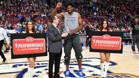 PHILADELPHIA, PA - FEBRUARY 11: Joel Embiid #21 of the Philadelphia 76ers receives the KIA Performance Award before the game against the Miami Heat on February 11, 2017 at Wells Fargo Center in Philadelphia, Pennsylvania. NOTE TO USER: User expressly acknowledges and agrees that, by downloading and or using this photograph, User is consenting to the terms and conditions of the Getty Images License Agreement. Mandatory Copyright Notice: Copyright 2017 NBAE (Photo by Jesse D. Garrabrant/NBAE via Getty Images)