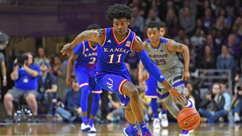 MANHATTAN, KS - FEBRUARY 06:  Guard Josh Jackson #11 of the Kansas Jayhawks drives up court against the Kansas State Wildcats during the first half on February 6, 2017 at Bramlage Coliseum in Manhattan, Kansas.  Kansas won 74-71. (Photo by Peter G. Aiken/Getty Images)