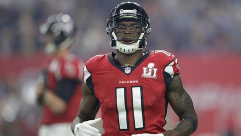 HOUSTON, TX - FEBRUARY 05:  Julio Jones #11 of the Atlanta Falcons looks on during the third quarter against the New England Patriots during Super Bowl 51 at NRG Stadium on February 5, 2017 in Houston, Texas.  (Photo by Ronald Martinez/Getty Images)