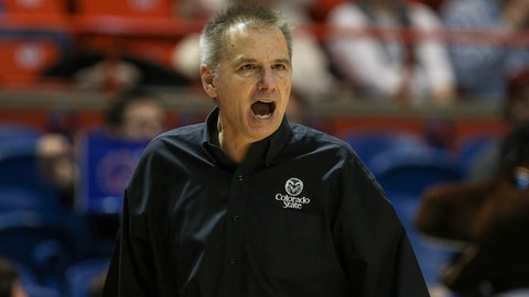 BOISE, ID - DECEMBER 31: Head coach Larry Eustachy of the Colorado State Rams shares his displeasure with a call during second half action against the Boise State Broncos on December 31, 2016 at Taco Bell Arena in Boise, Idaho. Boise State won the game 74-73. (Photo by Loren Orr/Getty Images)