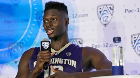 Washington forward Malik Dime answers questions during NCAA college basketball Pac-12 media day Friday, Oct. 21, 2016, in San Francisco. (AP Photo/Eric Risberg)