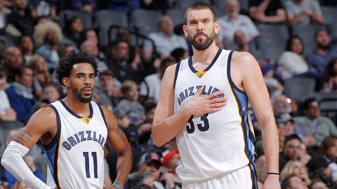 SACRAMENTO, CA - DECEMBER 31: Mike Conley #11 and Marc Gasol #33 of the Memphis Grizzlies talk during the game against the Sacramento Kings on December 31, 2016 at Golden 1 Center in Sacramento, California. NOTE TO USER: User expressly acknowledges and agrees that, by downloading and or using this photograph, User is consenting to the terms and conditions of the Getty Images Agreement. Mandatory Copyright Notice: Copyright 2016 NBAE (Photo by Rocky Widner/NBAE via Getty Images)