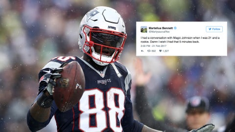 FOXBORO, MA - DECEMBER 24: Martellus Bennett #88 of the New England Patriots celebrates after scoring a touchdown against the New York Jets during the first half at Gillette Stadium on December 24, 2016 in Foxboro, Massachusetts. (Photo by Maddie Meyer/Getty Images)