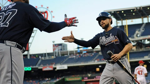 Sep 6, 2016; Washington, DC, USA; Atlanta Braves center fielder Ender Inciarte (11) is congratulated by left fielder Matt Kemp (27) after scoring a run during the first inning against the Washington Nationals at Nationals Park. Mandatory Credit: Brad Mills-USA TODAY Sports