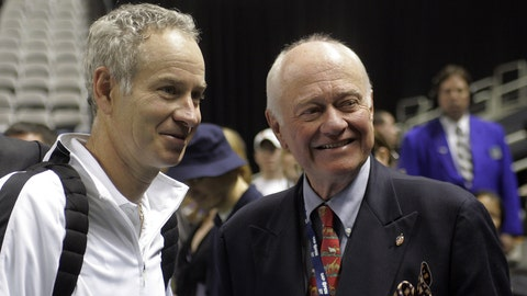 John McEnroe poses for a photo with his father, John McEnroe, Sr., after Men's Doubles Final match against Paul Goldstein & Jim Thomas at the 2006 SAP Open February 19, 2006 at HP Pavilion in San Jose, California. McEnroe/Bjorkman defeated Goldstein/Thomas 7-6, 4-6, (10-8). (Photo by John Medina/WireImage)