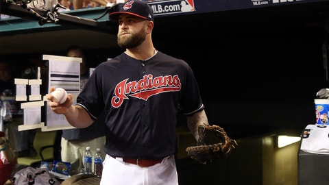 CLEVELAND, OH - NOVEMBER 2:  Mike Napoli #26 of the Cleveland Indians looks on prior to Game 7 of the 2016 World Series against the Chicago Cubs at Progressive Field on Wednesday, November 2, 2016 in Cleveland, Ohio. (Photo by Rob Tringali/MLB Photos via Getty Images)