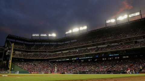 Jul 27, 2016; Arlington, TX, USA; General view of the game between the Texas Rangers and Oakland Athletics during the fifth inning at Globe Life Park in Arlington. Mandatory Credit: Kevin Jairaj-USA TODAY Sports