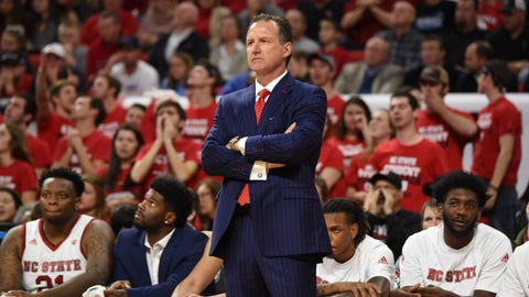 RALEIGH, NC - FEBRUARY 15: North Carolina State Wolfpack head coach Mark Gottfried watches play during a game between the North Carolina Tarheels and the North Carolina State Wolfpack on February 15, 2017 at PNC Arena in Raleigh, NC. (Photo by William Howard/Icon Sportswire)  (Icon Sportswire via AP Images)