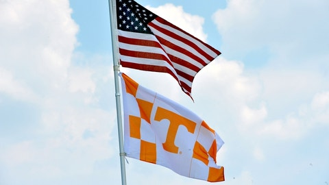 Sep 5, 2015; Nashville, TN, USA;  Tennessee Volunteers fans flies the United States flag and the Volunteer flag prior to the game against the Bowling Green Falcons at Nissan Stadium. Mandatory Credit: Jim Brown-USA TODAY Sports
