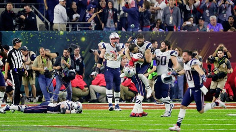 Most first downs passing in a single Super Bowl by one team: 26, Patriots