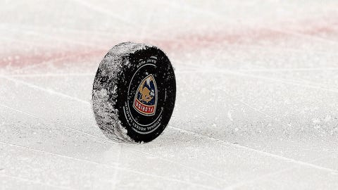 SUNRISE, FL - FEBRUARY 26: A game puck sits on the ice prior to a face off between the Ottawa Senators and the Florida Panthers at the BB&T Center on February 26, 2017 in Sunrise, Florida. (Photo by Eliot J. Schechter/NHLI via Getty Images)