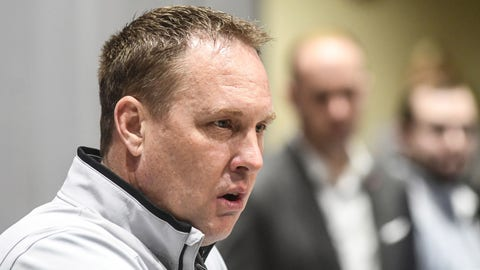 Mississippi head coach Hugh Freeze discusses the school's 2017 recruiting class at an NCAA college press conference on national signing day, Wednesday, Feb. 1, 2017, in Oxford, Miss. (Bruce Newman/The Oxford Eagle via AP)