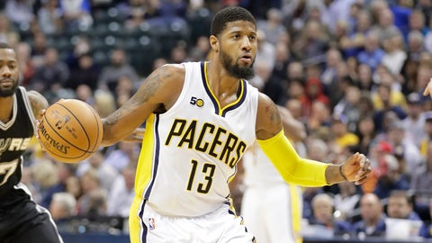 INDIANAPOLIS, IN - FEBRUARY 13:  Paul George #13 of the Indiana Pacers dribbles the ball against the San Antonio Spurs at Bankers Life Fieldhouse on February 13, 2017 in Indianapolis, Indiana.    NOTE TO USER: User expressly acknowledges and agrees that, by downloading and or using this photograph, User is consenting to the terms and conditions of the Getty Images License Agreement  (Photo by Andy Lyons/Getty Images)