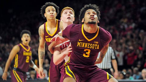 Feb 22, 2017; College Park, MD, USA; Minnesota Golden Gophers forward Jordan Murphy (3) fights for a loose ball with Maryland Terrapins guard Kevin Huerter (4) in the first half at Xfinity Center. Mandatory Credit: Evan Habeeb-USA TODAY Sports
