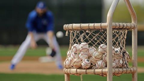 Basket of baseballs