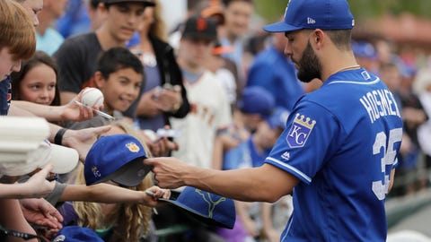 Eric Hosmer signs for fans