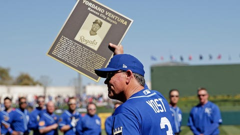 Ned Yost with plaque honoring the late Yordano Ventura