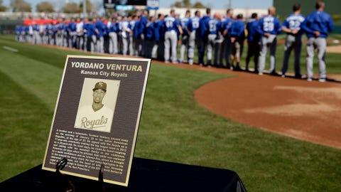 Plaque honoring the late Yordano Ventura at Royals' spring opener