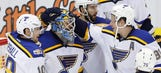 Hutton shuts out Red Wings as Blues earn fifth straight win