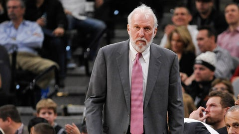 San Antonio Spurs head coach Gregg Popovich watches play during the second half of an NBA basketball game against the Philadelphia 76ers, Thursday, Feb. 2, 2017, in San Antonio. (AP Photo/Darren Abate)