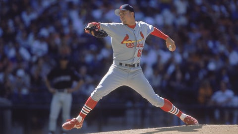 8 Apr 2001:  Rick Ankiel #66 of the St. Louis Cardinals winds back to pitch the ball during the game against the Arizona Diamondbacks at the Bank One Ballpark in Phoenix, Arizona. The Cardinals defeated the Diamondbacks 9-4.Mandatory Credit: Todd Warshaw  /Allsport