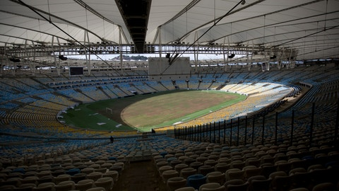 Maracana stadium is illuminated with sunlight after the electricity was shut off one week ago in Rio de Janeiro, Brazil, Thursday, Feb. 2, 2017. The power remains off in a fight over who will pay a $1 million electricity bill. (AP Photo/Silvia Izquierdo)