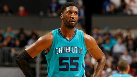 CHARLOTTE, NC - JANUARY 25:  Roy Hibbert #55 of the Charlotte Hornets looks on during the game against the Golden State Warriors on January 25, 2017 at Spectrum Center in Charlotte, North Carolina. NOTE TO USER: User expressly acknowledges and agrees that, by downloading and or using this photograph, User is consenting to the terms and conditions of the Getty Images License Agreement.  Mandatory Copyright Notice:  Copyright 2017 NBAE (Photo by Kent Smith/NBAE via Getty Images)
