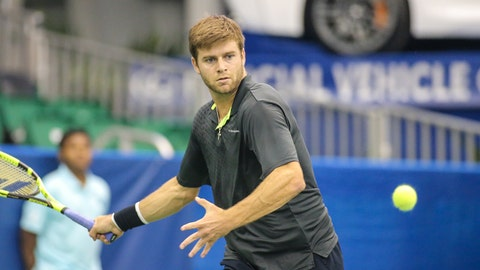 MEMPHIS, TN - FEBRUARY 14: Ryan Harrison of the United States focuses on the ball during the ATP Memphis Open on February 14, 2017, at The Racquet Club in Memphis, TN. (Photo by George Walker/Icon Sportswire via Getty Images)