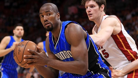 MIAMI, FL - FEBRUARY 13: Serge Ibaka #7 of the Orlando Magic posts up Luke Babbitt #5 of the Miami Heat during a game  at American Airlines Arena on February 13, 2017 in Miami, Florida. NOTE TO USER: User expressly acknowledges and agrees that, by downloading and or using this photograph, User is consenting to the terms and conditions of the Getty Images License Agreement.  (Photo by Mike Ehrmann/Getty Images)