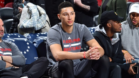 PHILADELPHIA, PA - FEBRUARY 11: Ben Simmons #25 of the Philadelphia 76ers looks on before the game against the Miami Heat on February 11, 2017 at Wells Fargo Center in Philadelphia, Pennsylvania. NOTE TO USER: User expressly acknowledges and agrees that, by downloading and or using this photograph, User is consenting to the terms and conditions of the Getty Images License Agreement. Mandatory Copyright Notice: Copyright 2017 NBAE (Photo by Jesse D. Garrabrant/NBAE via Getty Images)