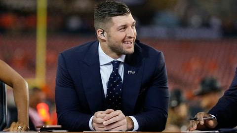 TAMPA, FL - JANUARY 09: ESPN SEC Network football analyst Tim Tebow before the 2017 College Football National Championship Game between the Clemson Tigers and Alabama Crimson Tide on January 9, 2017, at Raymond James Stadium in Tampa, FL. (Photo by Mark LoMoglio/Icon Sportswire via Getty Images)