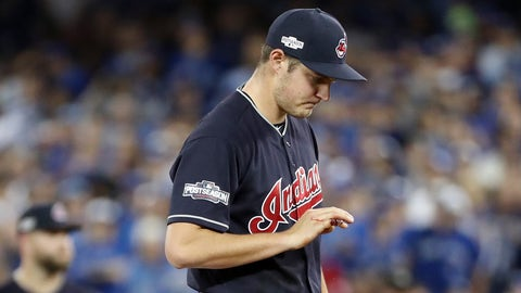 TORONTO, ON - OCTOBER, 17 - Trevor Bauer #47 of the Cleveland Indians leaves the field looking at his bloodied finger during the first inning in Game 3 of the ALCS baseball series against the Toronto Blue Jays at the Rogers Centre in Toronto, October 17, 2016.        (Richard Lautens/Toronto Star via Getty Images)