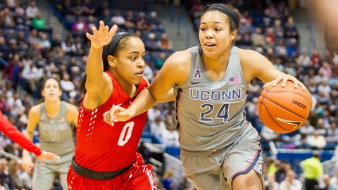 HARTFORD, CT - JANUARY 28: UConn Huskies Forward Napheesa Collier (24) works around Houston Cougar's Guard Angela Harris (0) during the first half a women's NCAA division 1 basketball game  between the Houston Cougars and the UConn Huskies on January 28, 2017, at the XL Center in Hartford, CT. (Photo by David Hahn/Icon Sportswire via Getty Images)