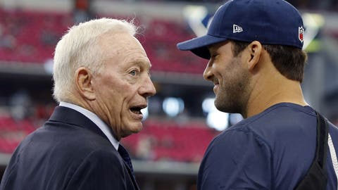Oct 11, 2015; Arlington, TX, USA; Dallas Cowboys owner Jerry Jones talks to injured starting quarterback Tony Romo before the game against the New England Patriots at AT&T Stadium. Mandatory Credit: Erich Schlegel-USA TODAY Sports