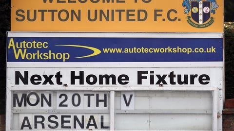 Sutton United Training Session and Press Conference - Gander Green Lane. A general view of a sign advertising Sutton United's next fixture, which is against Arsenal on Monday 20th Feb, 2017 at Gander Green Lane, London. Picture date: Thursday February 16, 2017. See PA story SOCCER Sutton. Photo credit should read: Andrew Matthews/PA Wire URN:30139322