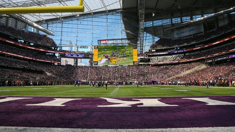 09 October 2016: A general view of U.S. Bank Stadium.  The Minnesota Vikings defeated the Houston Texans by a score of 31 to 13 at U.S. Bank Stadium, Minneapolis, MN.  (Photo by Rich Gabrielson/Icon Sportswire via Getty Images)