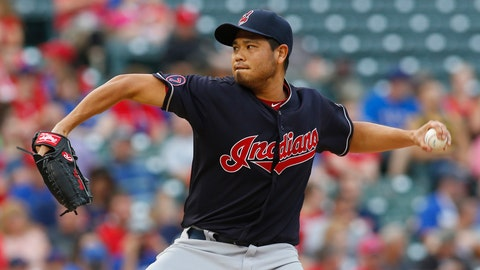 Cleveland Indians starting pitcher Bruce Chen works against the Texas Rangers in the first inning at Globe Life Park in Arlington, Texas, on Friday, May 15, 2015. (Richard W. Rodriguez/Fort Worth Star-Telegram/TNS via Getty Images)