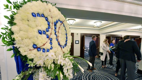 A wreath stands outside a room where Kansas City Royals' Yordano Ventura was remembered by members and employees of the baseball team in Kansas City, Mo. Ventura died in a car crash in the Dominican Republic. (John Sleezer/The Kansas City Star via AP)