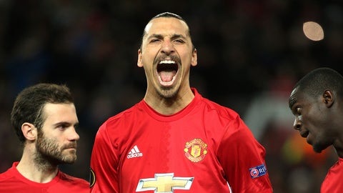 MANCHESTER, ENGLAND - FEBRUARY 16: Zlatan Ibrahimovic of Manchester United looks on before the UEFA Europa League Round of 32 first leg match between Manchester United and AS Saint-Etienne (ASSE) at Old Trafford stadium on February 16, 2017 in Manchester, United Kingdom. (Photo by Jean Catuffe/Getty Images)