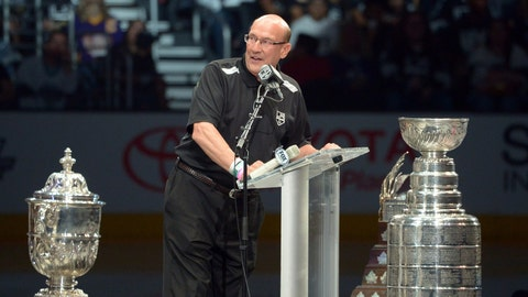 Jun 16, 2014; Los Angeles, CA, USA; Bob Miller emcees Los Angeles Kings rally to celebrate winning the 2014 Stanley Cup at Staples Center. Mandatory Credit: Kirby Lee-USA TODAY Sports